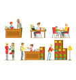 people in library set visitors and students vector image vector image