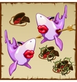 Pink sharks and bags of hearts with thorns vector image vector image