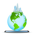 Planet Earth on Tablet Computer vector image vector image