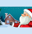 santa claus and winter hut background vector image vector image