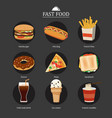 set fast food with chalkboard background vector image