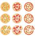 Set of flat pizza icons isolated on white vector image vector image