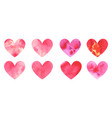 set of watercolor hearts hand-drawn vector image