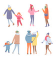 set standing people in warm clothes vector image