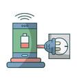 smartphone recharging battery cartoon vector image