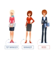 smiling business woman cartoon boss manager vector image vector image