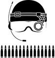 stencil kombat helmet vector image vector image