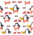 summer penguins seamless pattern vector image