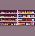 supermarket aisle shelves with toys and chemicals vector image