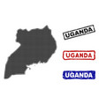 uganda map in halftone dot style with grunge vector image