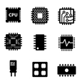 black CPU microprocessor and chips icons vector image