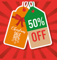 christmas sale tag price 50 percent off marketing vector image