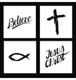 Christian symbols Cross made by hand Believe vector image