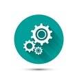 Settings icon on green background with long shadow vector image