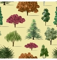 Trees sketch set pattern vector image