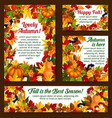 autumn acorn leaf pumpkin greeting posters vector image vector image