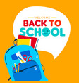 back to school children school supply backpack vector image vector image