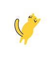back view yellow cat standing on its hind paws vector image