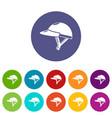 bike helmet girl icons set color vector image vector image