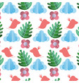bird with cloud and exotic plant background vector image vector image
