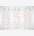 calendar for 2018 2019 2020 simple template vector image