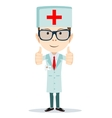 Cartoon doctor showing everything is OK vector image