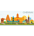 Chennai Skyline with Color Landmarks vector image vector image