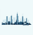 chicago skyline buildings vector image vector image