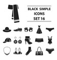 clothes set icons in black style big collection vector image vector image