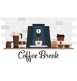 Coffee break flat design Cup set Coffee machine vector image vector image