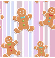 Cute gingerbread man seamless Christmas colorful p vector image