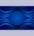 dark blue abstract smooth wavy background vector image vector image