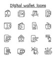 digital wallets icon set in thin line style vector image vector image