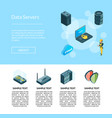 electronic system data center icons page vector image
