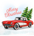 elegant vintage red car with christmas trees vector image vector image