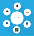 flat icon technology set of memory unit vector image vector image