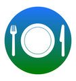 fork plate and knife white icon in vector image vector image