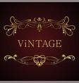 golden calligraphic frame vintage elegant vector image