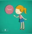 isometric cute girl cartoon text box vector image
