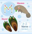letter m tracing mussel manatee marine alphabet