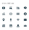 media icons set with feed dialog wi-fi and other vector image