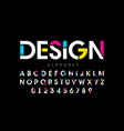 modern bright colorful font alphabet letters and vector image