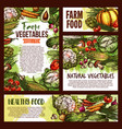 natural vegetables food sketch posters vector image vector image