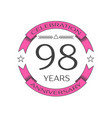 Ninety eight years anniversary celebration logo