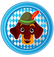 Oktoberfest circle dog button vector image vector image