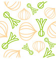 onions and spring onion seamless pattern outline vector image vector image