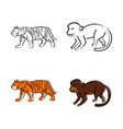 outline draw animals vector image vector image