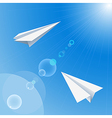 Paper planes flying in the sky vector image