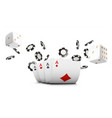 playing cards poker chips and dice fly casino on vector image vector image