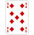 Poker playing card 9 diamond vector image vector image